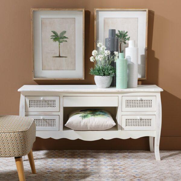 Mueble TV crema rozado Marion ratán-madera