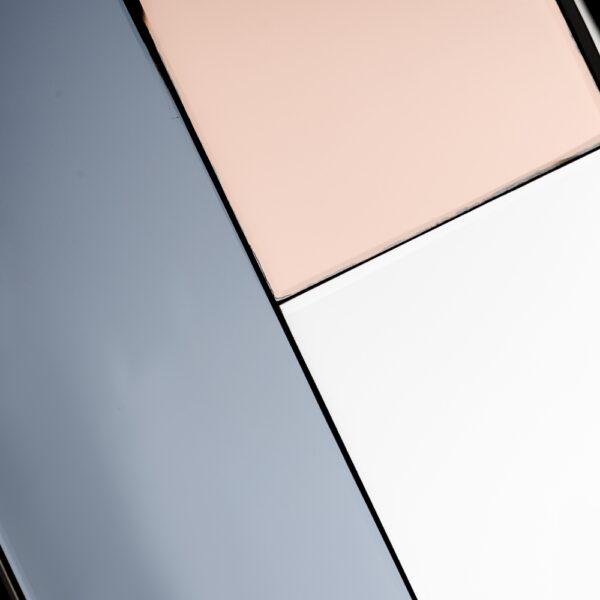 Espejo redondo grid-rosa cristal