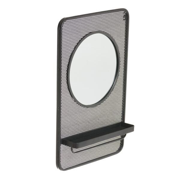 Espejo estante negro metal-cristal