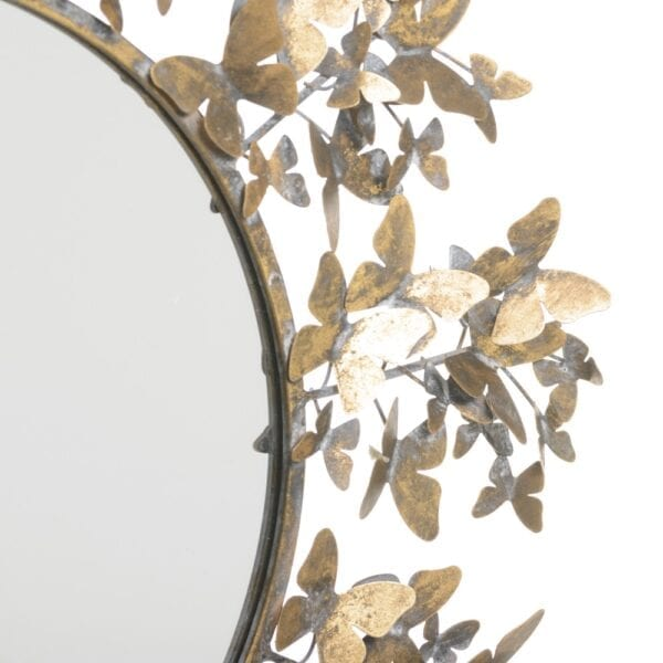 Espejo mariposas oro viejo metal