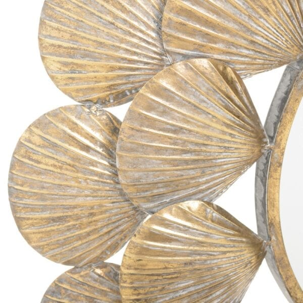 Espejo conchas oro viejo metal