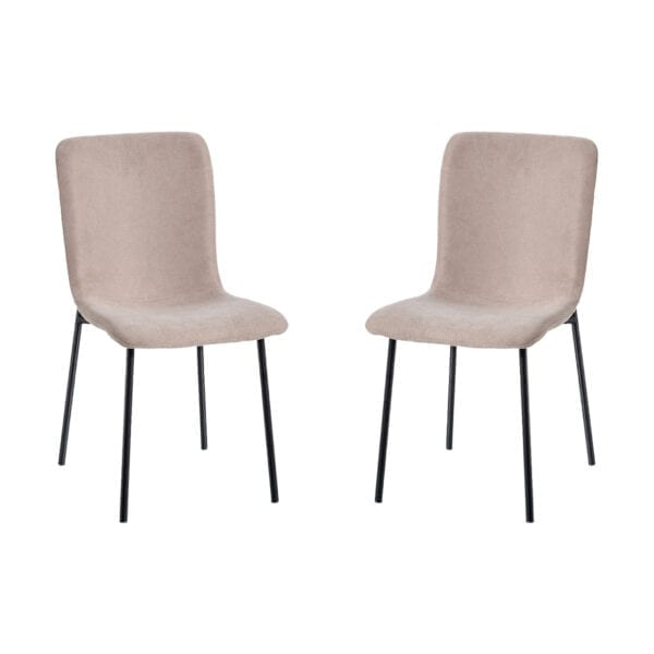Juego de 2 sillas tejido-metal beige