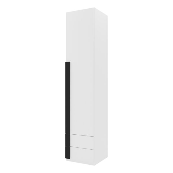 Armario 1 puerta abatible 2 cajones Viena Nieve tirador moldura Negro