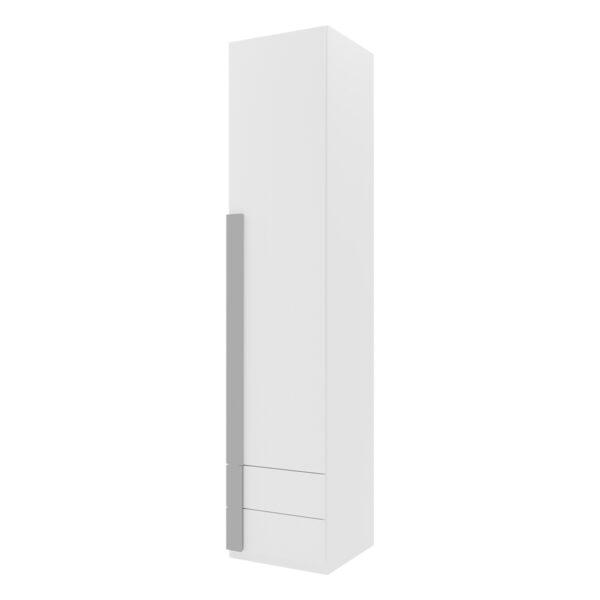 Armario 1 puerta abatible 2 cajones Viena Nieve tirador moldura Plata