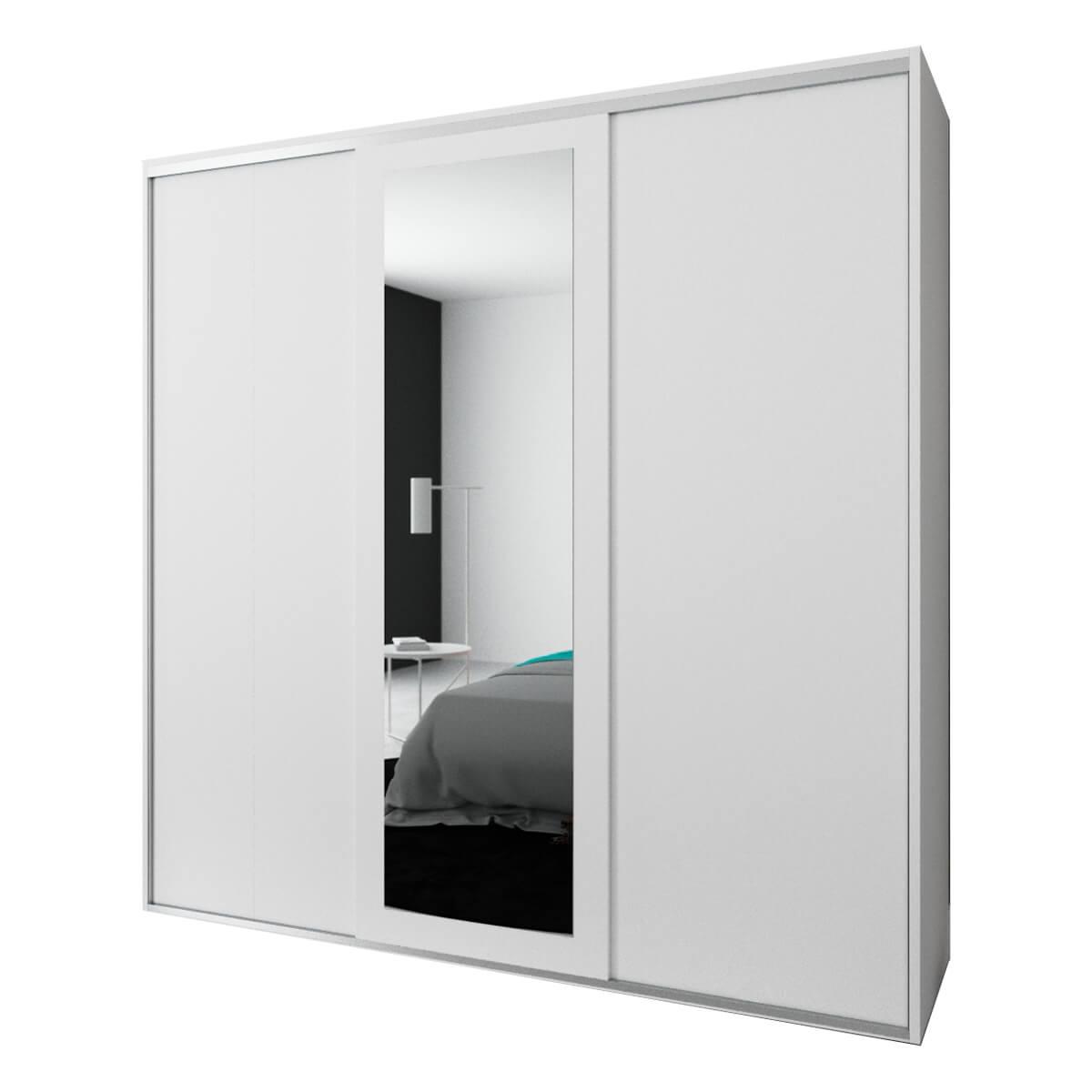 Armario 3 Puertas Correderas Con Espejo Viena 235x232x60 Cm Mueblam