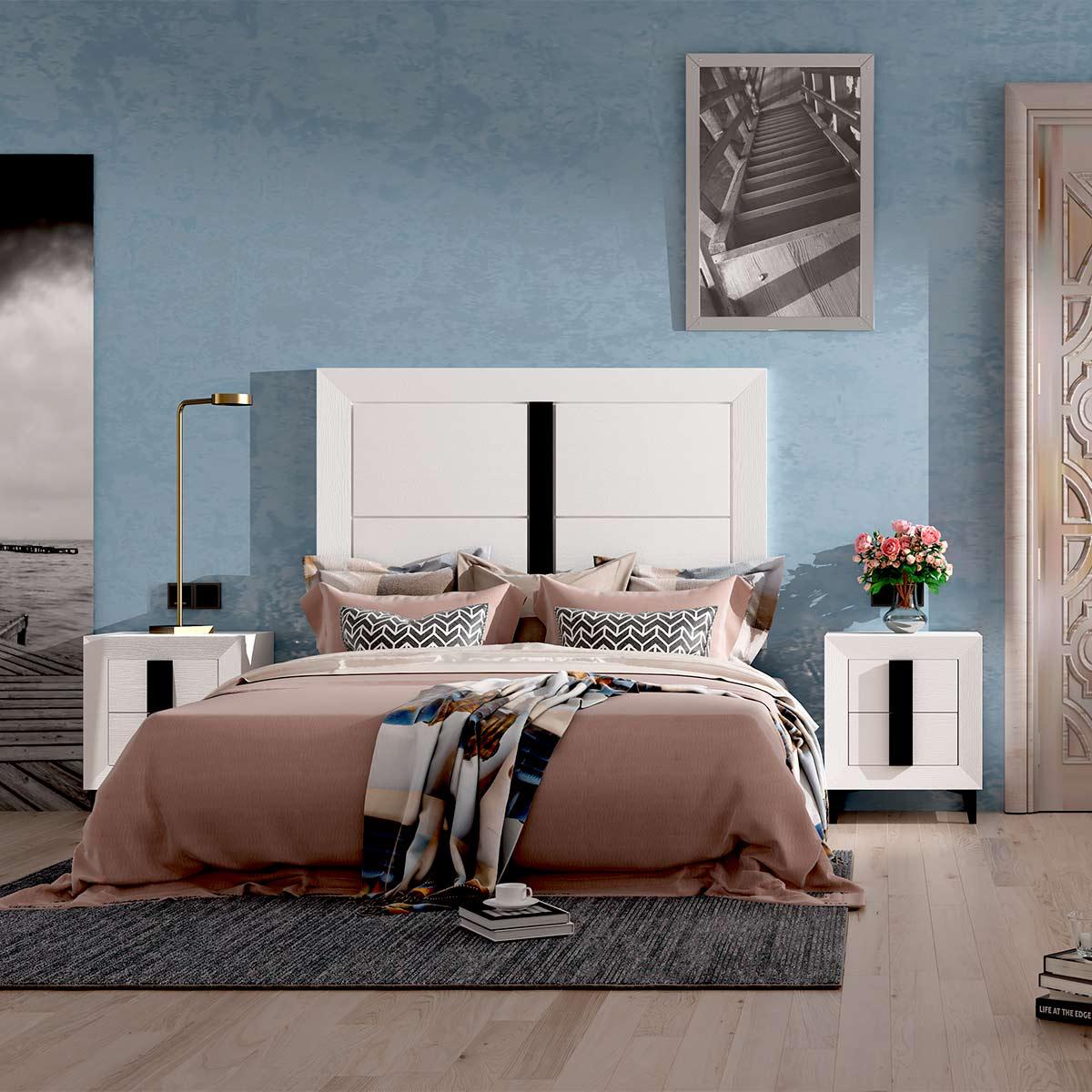 Dormitorio de matrimonio Viena 01 cabecero y 2 mesitas