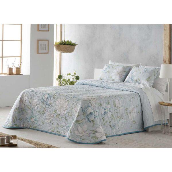 Colcha de cama Blanca azul