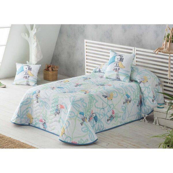Colcha de cama Tucan azul